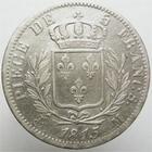Photo numismatique  Monnaies Monnaies Françaises 1ère Restauration 5 Francs LOUIS XVIII, 5 francs 1815 M Toulouse, Buste habillé, G.591 TB+/TTB
