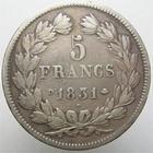 Photo numismatique  Monnaies Monnaies Françaises Louis Philippe 5 Francs LOUIS PHILIPPE, 5 francs 1831 D Lyon, G.677 TB à TTB