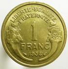 Photo numismatique  Monnaies Monnaies Fran�aises Troisi�me R�publique 1 Franc 1 Franc Morlon 1936, G.470 TTB � SUPERBE