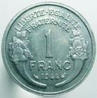 Photo numismatique  Monnaies Monnaies Françaises Gouvernement Provisoire 1 Franc 1 Franc Morlon aluminium, 1944, G.473a SUPERBE