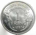 Photo numismatique  Monnaies Monnaies Françaises 4ème république 1 Franc 1 Franc Morlon aluminium, 1957, G.473b SUPERBE+