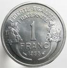 Photo numismatique  Monnaies Monnaies Françaises 4ème république 1 Franc 1 Franc Morlon aluminium, 1958, G.473b SUPERBE à FDC