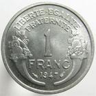 Photo numismatique  Monnaies Monnaies Françaises 4ème république 1 Franc 1 Franc Morlon aluminium, 1947, G.473b SUPERBE+