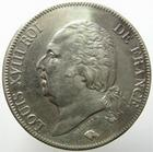 Photo numismatique  Monnaies Monnaies Françaises Louis XVIII 5 Francs LOUIS XVIII, 5 francs 1824 Q Perpignan, G.614 TTB à SUPERBE