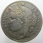 Photo numismatique  Monnaies Monnaies Françaises Deuxième République 5 Francs 5 francs Cérès 1850 K Bordeaux, G.719, coups sur tranche, TB+  Rare!