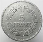 Photo numismatique  Monnaies Monnaies Françaises 4ème république 5 Francs 5 francs Lavrillier 1950 B, aluminium, G.766a TTB