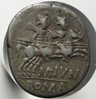 Photo numismatique  Monnaies R�publique Romaine Junia 145 avant Jc Denier, denar, denario, denarius M.JUNIUS SILANUS, denier, 145 avant Jc, les Dioscures � droite, S.96 TTB