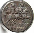 Photo numismatique  Monnaies R�publique Romaine Junia 145 avant Jc Denier, denar, denario, denarius M.JUNIUS SILANUS, denier, 145 avnat Jc, les dioscures � droite, S.96 TTB+