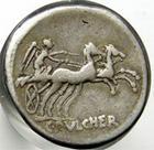 Photo numismatique  Monnaies République Romaine Claudia 110 avant Jc Denier, denar, denario, denarius C.CLAUDIUS PULCHER, denier, 110.109 avant Jc, bige à droite conduit par une victoire, S.177 TTB
