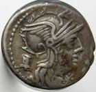 Photo numismatique  Monnaies R�publique Romaine 134 av Jc Denier, denar, denario, denarius M.MARCIUS Mn.f, denier, 134 avant Jc, bige � droite consuit par une victoire, S.122 TTB