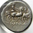 Photo numismatique  Monnaies République Romaine 111 av Jc Denier, denar, denario, denarius T.MALLIUS, denier, 111.110 avant Jc, T.MAL.CL.Q, trige conduit par une victoire, RSC 1 variante, TTB R!