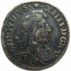 Photo numismatique  Monnaies Monnaies Royales Louis XIV Médaille 4 Sols des traîtants LOUIS XIV, 4sols dit des traîtants, 1674 D Lyon, G.105 TB à TTB
