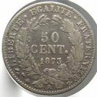 Photo numismatique  Monnaies Monnaies Fran�aises Troisi�me R�publique 50 Centimes 50 centimes C�r�s 1873 A, G.419a TB+