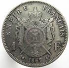 Photo numismatique  Monnaies Monnaies Françaises Second Empire 1 Franc NAPOLEON III, 1 franc 1867 BB Strasbourg, G.463 Néttoyé sinon TTB