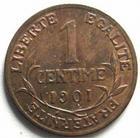 Photo numismatique  Monnaies Monnaies Françaises Troisième République 1 Centime 1 centime Dupuis 1901, G.90 TTB+