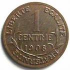 Photo numismatique  Monnaies Monnaies Françaises Troisième République 1 Centime 1 centime Dupuis 1908, G.90 TTB+