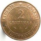 Photo numismatique  Monnaies Monnaies Françaises Troisième République 2 Centimes 2 Centimes Cérès 1895 A, G.105 petites tâches sinon SUPERBE