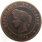 Photo numismatique  Monnaies Monnaies Françaises Troisième République 5 Centimes 5 centimes Cérès 1874 petit K, G.157a TB