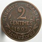 Photo numismatique  Monnaies Monnaies Françaises Troisième République 2 Centimes 2 centimes Dupuis 1907, G.107 TTB+