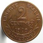 Photo numismatique  Monnaies Monnaies Françaises Troisième République 2 Centimes 2 centimes Dupuis 1909, G.107 TTB+