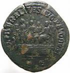 Photo numismatique  Monnaies Empire Romain BALBIN, BALBINUS, BALBINO Sesterce, sesterz, sestertius, sestertio BALBINUS, BALBIN, sesterce Rome en 238, balbin sur une estrade avec Pupien et Gordien, 18.39 grammes, C.13 (100 frs or), TTB Très rare!!