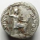 Photo numismatique  Monnaies Empire Romain TIBERE, TIBERIUS, TIBERIO Denier, denar, denario, denarius TIBERIUS, TIBERE, denier, Lyon en 14.37, Pontif Maxim, 3.35 grammes, RIC.26 TTB