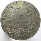 Photo numismatique  Monnaies Monnaies Françaises 1er Empire 1 Franc NAPOLEON Ier, 1 franc AN 13 A, revers république, G.443 TTB à  SUPERBE