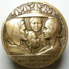 Photo numismatique  Monnaies M�dailles Exposition coloniale M�daille bronze Exposition coloniale internationale Paris 1931, plan de l'exposition, graveur L.BAZOR, 2 coups sur tranche, 68 mm, TTB � SUPERBE