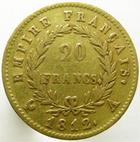 Photo numismatique  Monnaies Monnaies Française en or 1er Empire 20 Francs or NAPOLEON Ier, 20 francs or 1812 A, G.1025 TTB