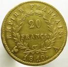 Photo numismatique  Monnaies Monnaies Française en or 1er Empire 20 Francs or NAPOLEON Ier, 20 francs or 1810 A, G.1025 TTB