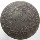 Photo numismatique  Monnaies Monnaies Françaises 1er Empire 5 Francs NAPOLEON Ier, 5 francs 1806 A, G.581 traces de nettoyage, TTB