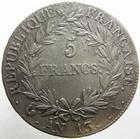 Photo numismatique  Monnaies Monnaies Françaises 1er Empire 5 Francs NAPOLEON Ier, 5 francs AN 13 A, G.580 traces de nettoyage, TTB