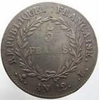 Photo numismatique  Monnaies Monnaies Françaises Consulat 5 Francs BONAPARTE premier consul, 5 francs AN 12 L Bayonne, G.577 TB à TTB