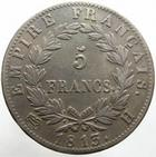 Photo numismatique  Monnaies Monnaies Françaises 1er Empire 5 Francs NAPOLEON Ier, 5 francs 1813 H La Rochelle, G.584 TB à TTB
