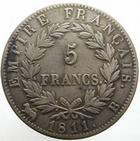 Photo numismatique  Monnaies Monnaies Françaises 1er Empire 5 Francs NAPOLEON Ier, 5 francs 1811 B Rouen, G.584, traces de nettoyage, TB à TTB