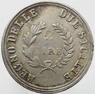 Photo numismatique  Monnaies Monnaies Françaises Napoleonides 2 Lires Joachim MURAT, 2 lires 1813, règne des deux Sicile, variété avec le A de Napoleone non barré!!, Gigante 14a TB à TTB Rare!
