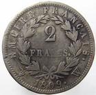 Photo numismatique  Monnaies Monnaies Françaises 1er Empire 2 Francs NAPOLEON Ier, 2 francs 1809 W Lille, G.501 TB à TTB