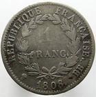 Photo numismatique  Monnaies Monnaies Françaises 1er Empire 1 Franc NAPOLEON Ier, 1 franc 1808 BB Strasbourg, revers république, G.446 TB