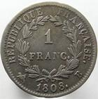Photo numismatique  Monnaies Monnaies Françaises 1er Empire 1 Franc NAPOLEON Ier, 1 franc 1808 B Rouen, revers république, G.446 TTB