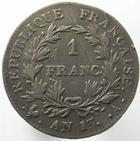Photo numismatique  Monnaies Monnaies Françaises 1er Empire 1 Franc NAPOLEON Ier, 1 franc AN 13 A Paris, G.443 TB à TTB