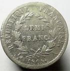 Photo numismatique  Monnaies Monnaies Françaises 1er Empire Demi franc NAPOLEON Ier, Demi Franc 1808 A Paris, G.398 TB à TTB