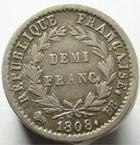 Photo numismatique  Monnaies Monnaies Françaises 1er Empire Demi franc NAPOLEON Ier, Demi Franc 1808 BB Starsbourg, G.398 TTB