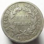 Photo numismatique  Monnaies Monnaies Françaises 1er Empire Demi franc NAPOLEON Ier, Demi Franc 1808 W Lille, G.398 TTB