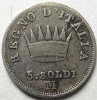 Photo numismatique  Monnaies Monnaies Françaises Napoleonides 5 Soldi NAPOLEON Ier, 5 soldi 1813 M Milan, Gigante.195 TB