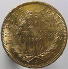Photo numismatique  Monnaies Monnaies Françaises Second Empire 20 Francs or NAPOLEON III, 20 francs or 1860 A, G.1061 Presque SUPERBE