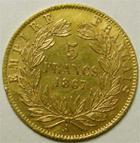Photo numismatique  Monnaies Monnaies Française en or Second Empire 5 Francs or NAPOLEON III, 5 francs or lauré 1867 A, G.1002 petit coup sur tranche sinon TTB+
