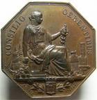 Photo numismatique  Monnaies Jetons Bordeaux Jeton octogonale BORDEAUX, jeton octogonale en cuivre, 40mm, comptoir d'escompte de Bordeaux 1858, TTB+