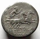 Photo numismatique  Monnaies R�publique Romaine 151 av Jc Denier, denar, denario, denarius P.CORNELIUS SULLA, Denier, 151 avant J�sus Christ, bige conduit par une victoire, 3.78 grammes, Sear.84 TB+