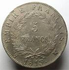 Photo numismatique  Monnaies Monnaies Françaises 1er Empire 5 Francs NAPOLEON Ier, 5 francs 1813 MA Marseille, G.584,  petite corrosion à l'avers, et coup sur listel au revers sinon TTB+