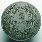 Photo numismatique  Monnaies Monnaies Françaises 1er Empire 2 Francs NAPOLEON Ier, 2 francs AN 14 A, Napoleon Empereur, tête nue, G.495 TTB